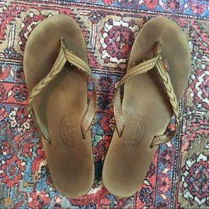 Rainbow leather flip flops sandals XL